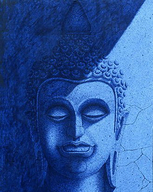 Buddha in Blue Shade Original Oil on Canvas