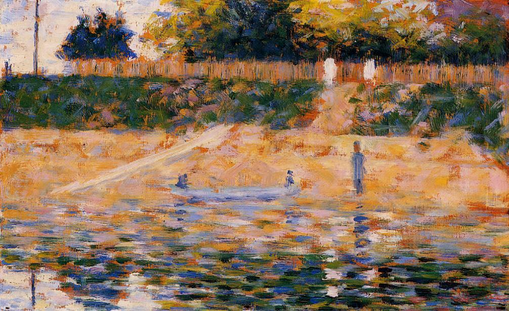 Boats near the Beach at Asnieres by Georges Seurat Reproduction Painting by Blue Surf Art