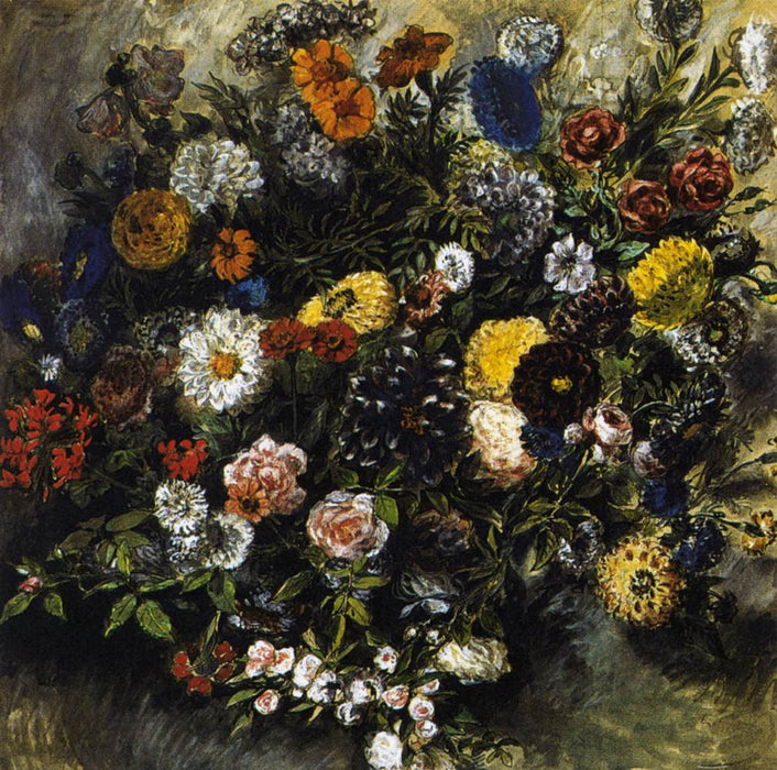 Bouquet of Flowers by Eugène Delacroix Reproduction Painting by Blue Surf Art