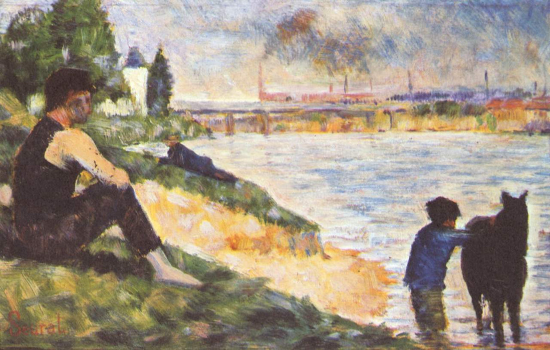 Boy with horse by Georges Seurat Reproduction Painting by Blue Surf Art