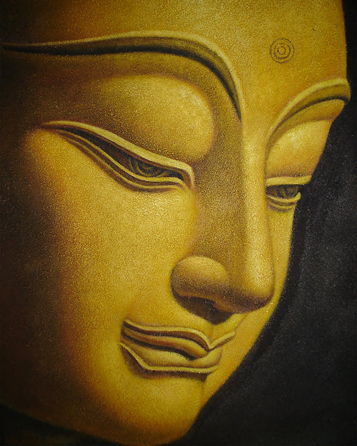 Golden Buddha Side Portrait Oil on Canvas