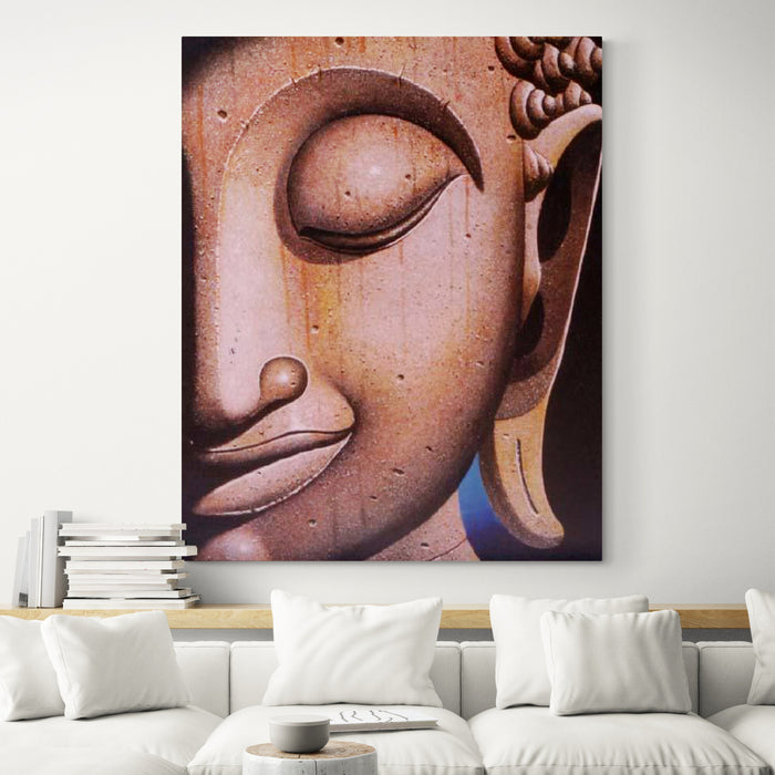 Buddha with Wood Skin Oil on Canvas - in living room