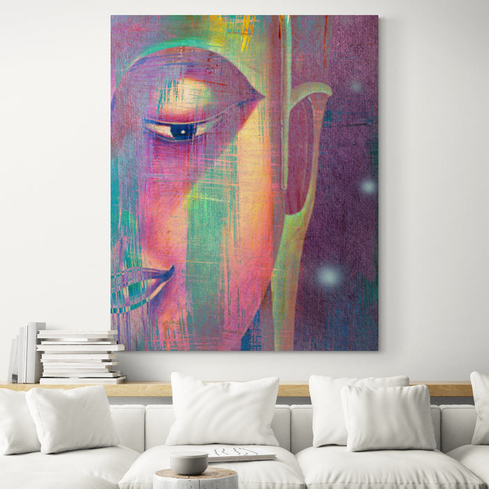 Multi Colour Buddha Portrait in Abstract Style - Living room
