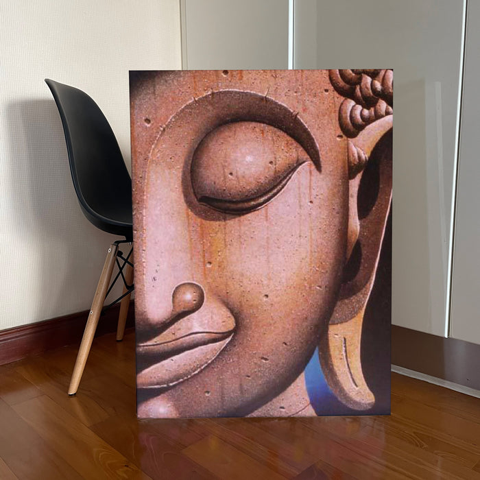 Buddha with Wood Skin Oil on Canvas