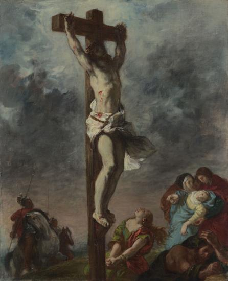 Christ on the Cross by Eugène Delacroix Reproduction Painting by Blue Surf Art