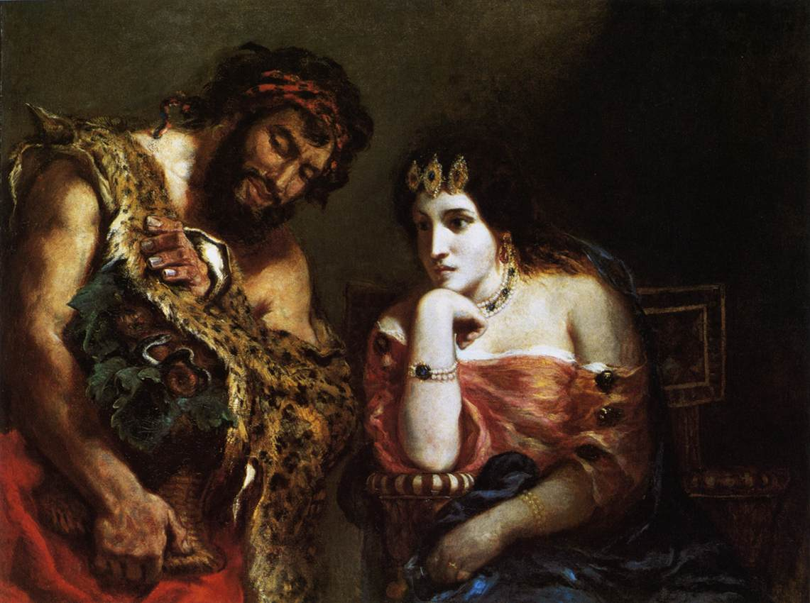 Cleopatra and the Peasant by Eugène Delacroix Reproduction Painting by Blue Surf Art