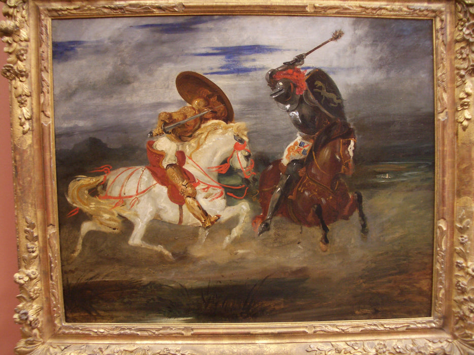 Confrontation of knights in the countryside by Eugène Delacroix Reproduction Painting by Blue Surf Art