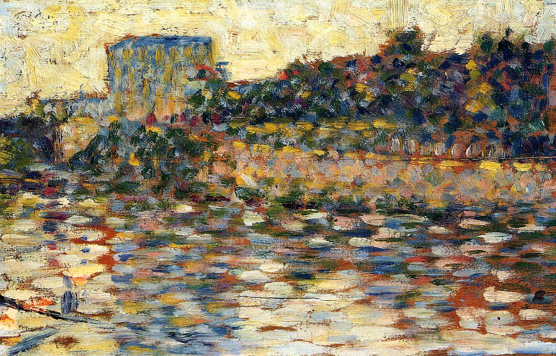 Courbevoie, Landscape With Turret by Georges Seurat Reproduction Painting by Blue Surf Art