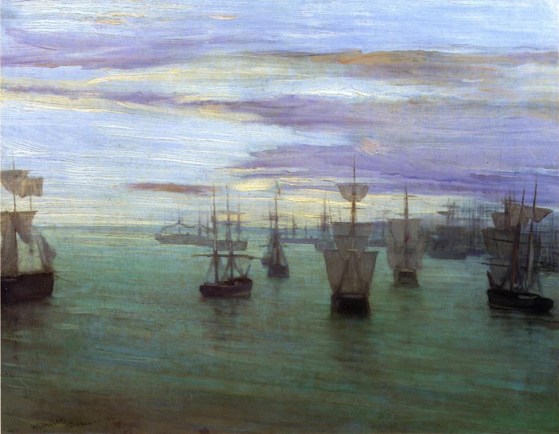 Crepuscule in Flesh Color and Green: Valparaiso by James Abbott McNeill Whistler Reproduction Painting by Blue Surf Art