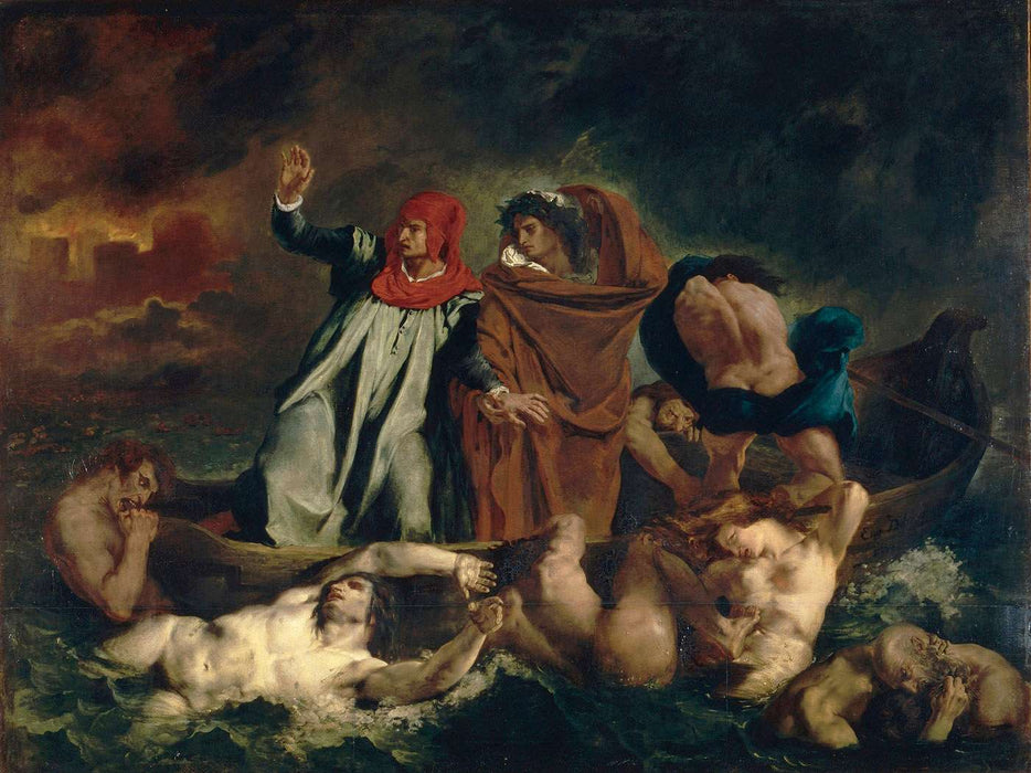 The Barque of Dante (Dante and Virgil in the Underworld) by Eugène Delacroix Reproduction Painting by Blue Surf Art