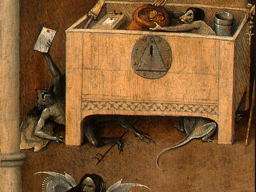 Death and the Miser (detail) by Hieronymus Bosch I Blue Surf Art