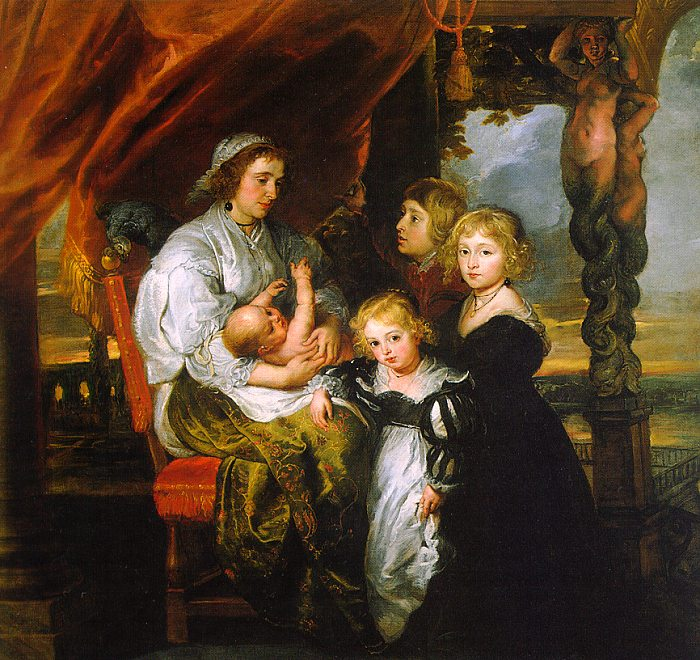 Deborah Kip, Wife of Sir Balthasar Gerbier, and Her Children by Peter Paul Rubens Reproduction Oil Painting on Canvas