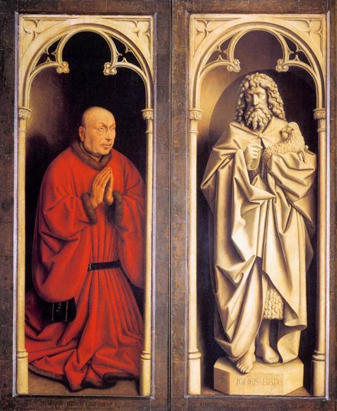 Donor and St. John the Baptist by Jan Van Eyck Reproduction Painting by Blue Surf Art