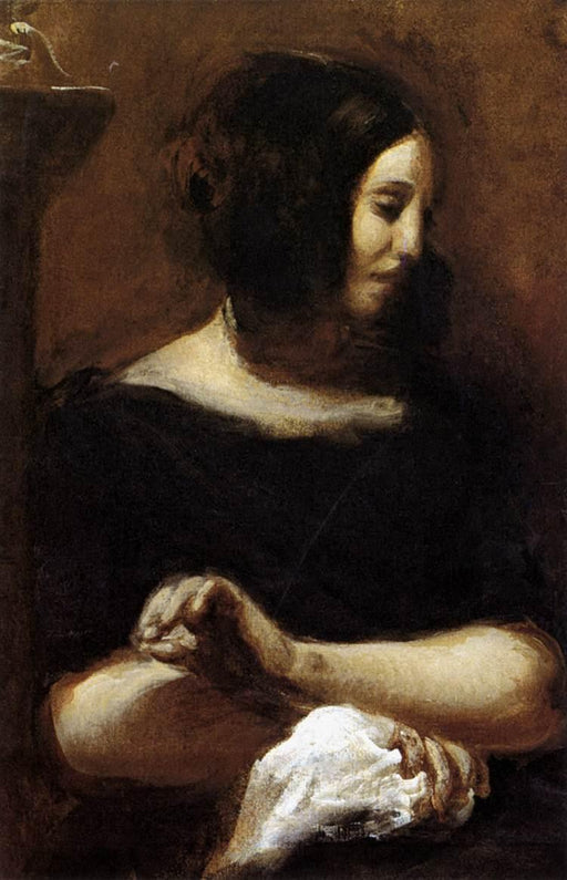 Portrait of George Sand by Eugène Delacroix Reproduction Painting by Blue Surf Art