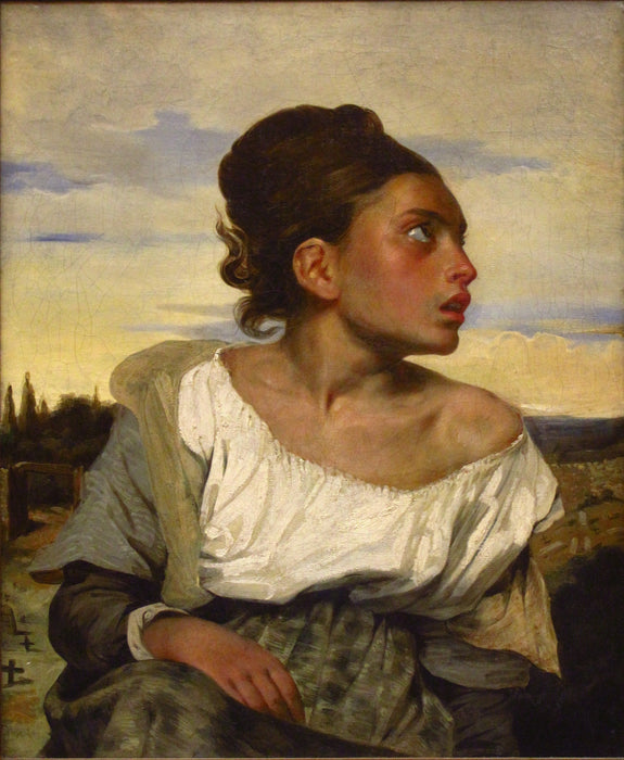 The Orphan Girl at the Cemetery by Eugène Delacroix Reproduction Painting by Blue Surf Art