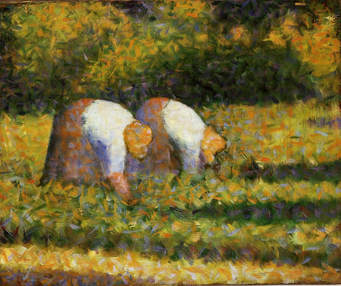 Farm Women at Work by Georges Seurat Reproduction Painting by Blue Surf Art