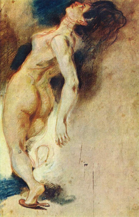 Female Nude Killed from Behind by Eugène Delacroix Reproduction Painting by Blue Surf Art