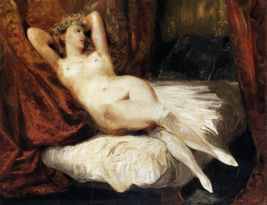 Female Nude Reclining on a Divan by Eugène Delacroix Reproduction Painting by Blue Surf Art