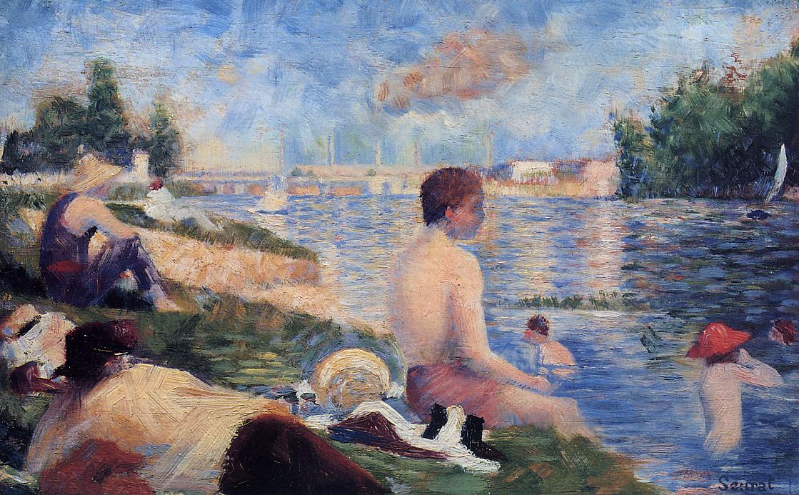 Final Study for Bathing at Asnieres by Georges Seurat Reproduction Painting by Blue Surf Art