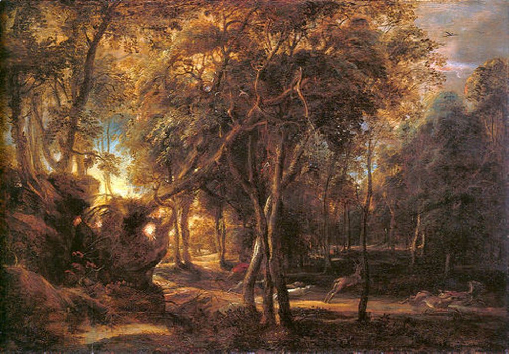 Forest Landscape at the Sunrise by Peter Paul Rubens Reproduction Oil Painting on Canvas