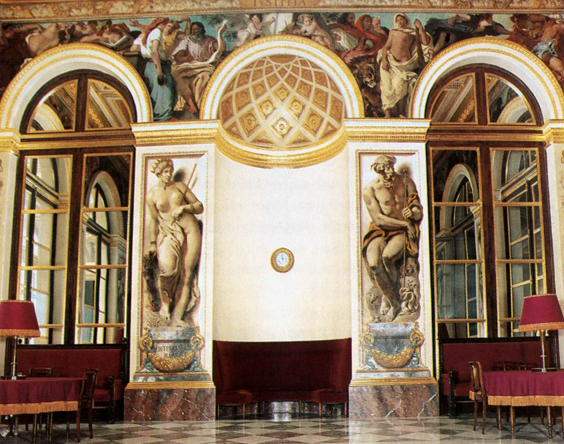 Frescoes on the west wall (Salon du Roi, Palais Bourbon, Paris) by Eugène Delacroix Reproduction Painting by Blue Surf Art