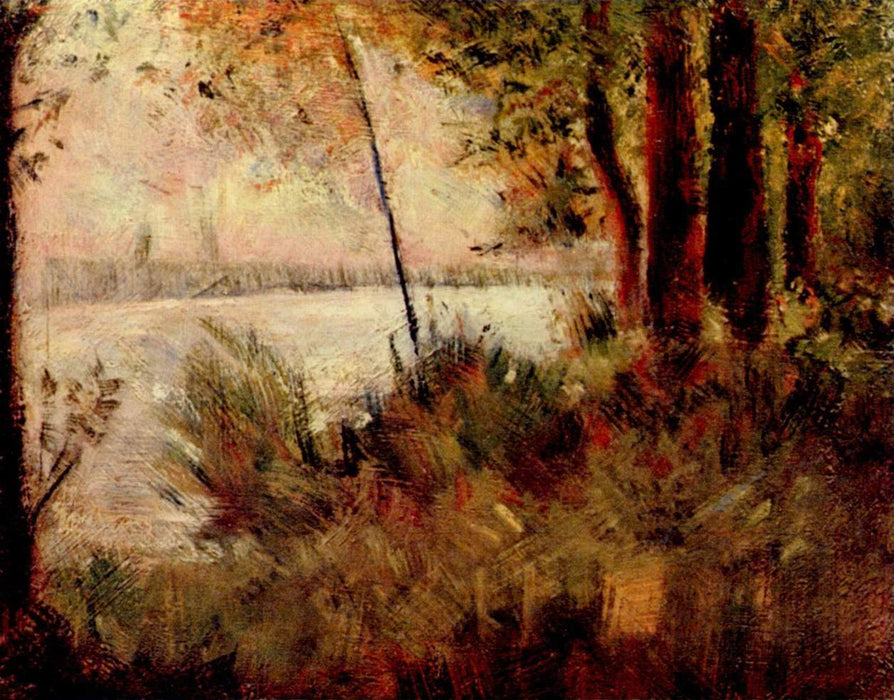 Grassy Riverbank by Georges Seurat Reproduction Painting by Blue Surf Art