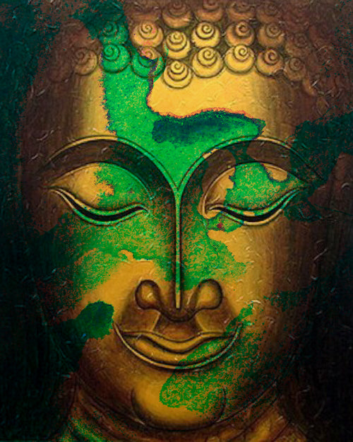 Green and Gold Buddha Portrait in Abstract Style