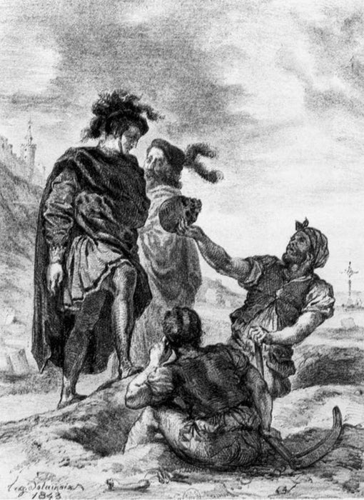 Hamlet and Horatio before the Grave Diggers by Eugène Delacroix Reproduction Painting by Blue Surf Art