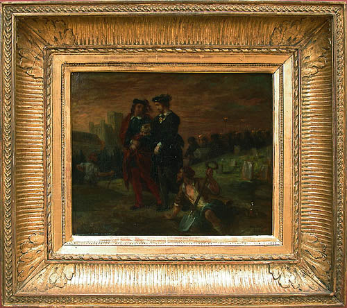 Hamlet and Horatio in the cemetery by Eugène Delacroix Reproduction Painting by Blue Surf Art