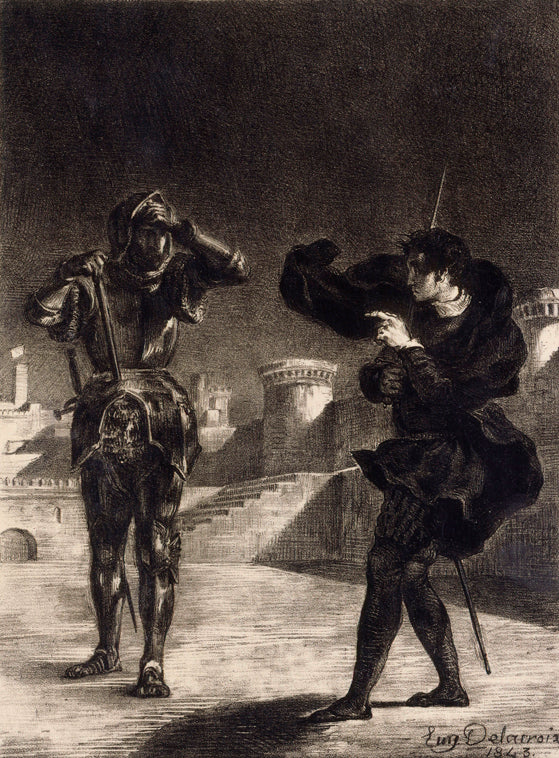 Hamlet Sees the Ghost of his Father by Eugène Delacroix Reproduction Painting by Blue Surf Art