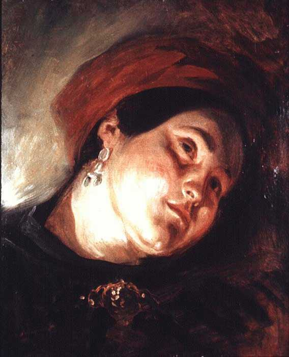 Head of a Woman in a Red Turban by Eugène Delacroix Reproduction Painting by Blue Surf Art