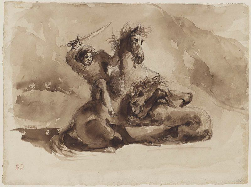 Horse and Rider Attacked by a Lion by Eugène Delacroix Reproduction Painting by Blue Surf Art