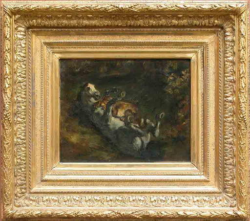 Horse Attacked by Lioness by Eugène Delacroix Reproduction Painting by Blue Surf Art
