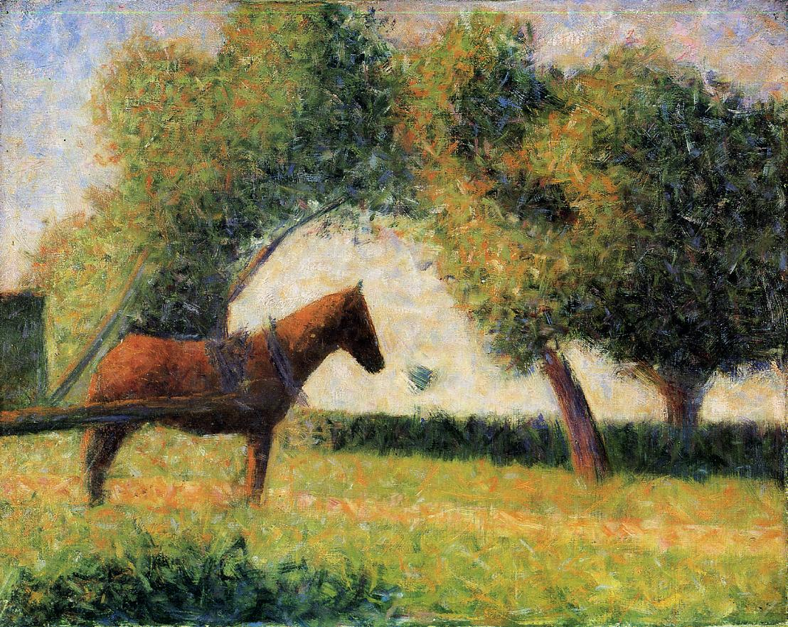 Horse and cart by Georges Seurat Reproduction Painting by Blue Surf Art