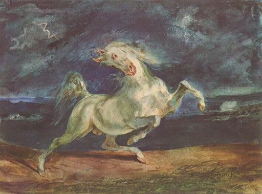 Horse Frightened by a Storm by Eugène Delacroix Reproduction Painting by Blue Surf Art