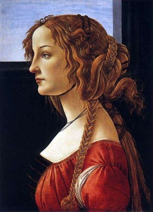 Portrait of a Young Woman by Sandro Botticelli I Blue Surf Art