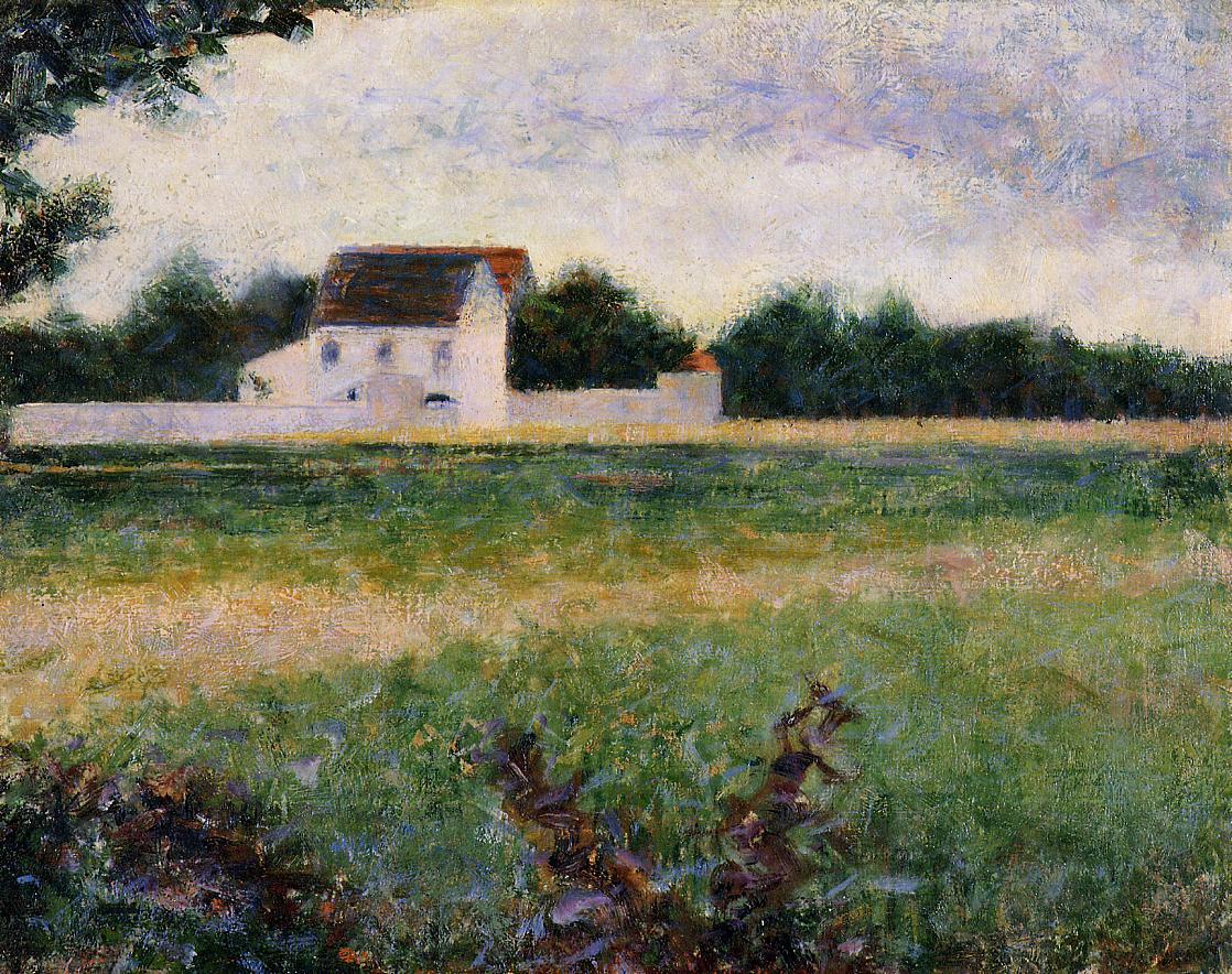 Landscape in the Ile-de-France by Georges Seurat Reproduction Painting by Blue Surf Art