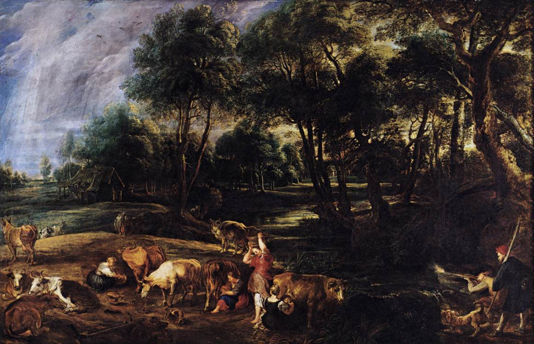Landscape with Cows and Wildfowlers by Peter Paul Rubens Reproduction Oil Painting on Canvas