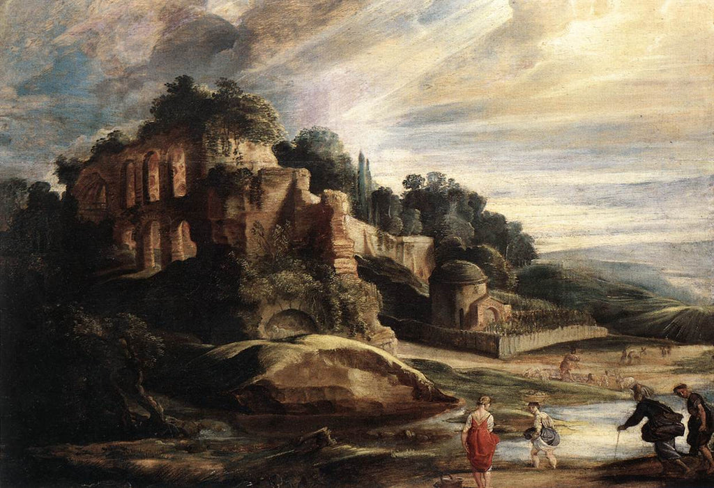 Landscape with the Ruins of Mount Palatine in Rome by Peter Paul Rubens Reproduction Oil Painting on Canvas