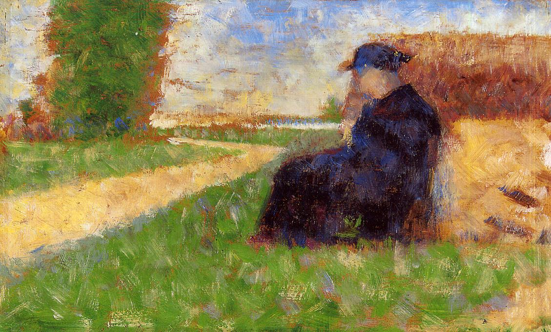 Large Figure in a Landscape by Georges Seurat Reproduction Painting by Blue Surf Art