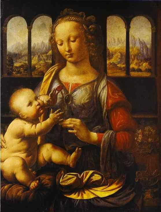 Madonna with the Carnation by Leonardo Da Vinci, Reproduction by Blue Surf Art