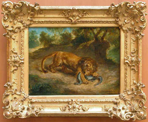 Lion and alligator by Eugène Delacroix Reproduction Painting by Blue Surf Art