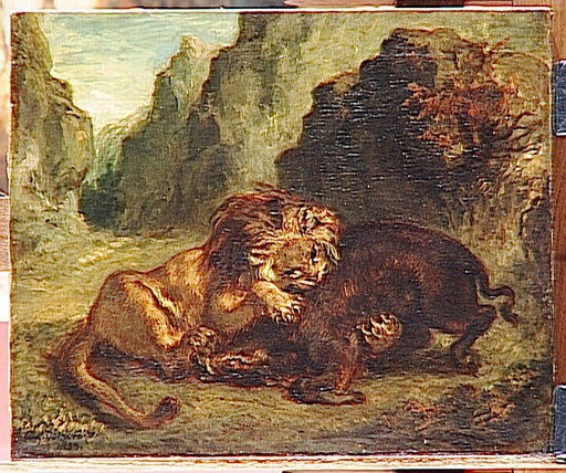 Lion and boar by Eugène Delacroix Reproduction Painting by Blue Surf Art