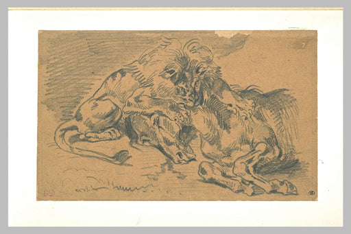 Lion Devouring a Horse by Eugène Delacroix Reproduction Painting by Blue Surf Art