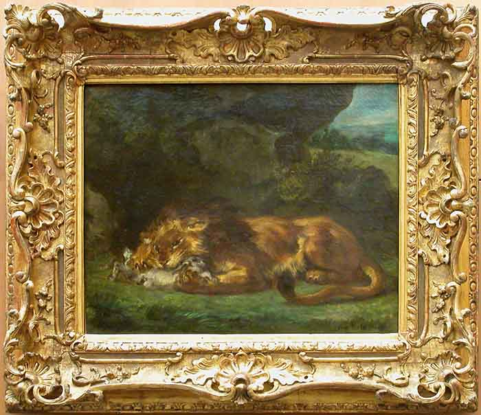 Lion Devouring a Rabbit by Eugène Delacroix Reproduction Painting by Blue Surf Art