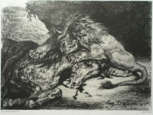 Lion devouring an Arab horse by Eugène Delacroix Reproduction Painting by Blue Surf Art