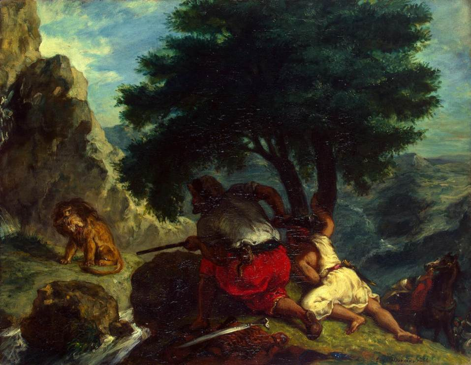Lion Hunt in Morocco by Eugène Delacroix Reproduction Painting by Blue Surf Art