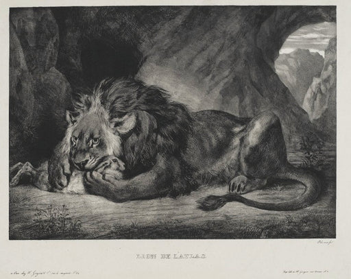 Lion of the Atlas by Eugène Delacroix Reproduction Painting by Blue Surf Art