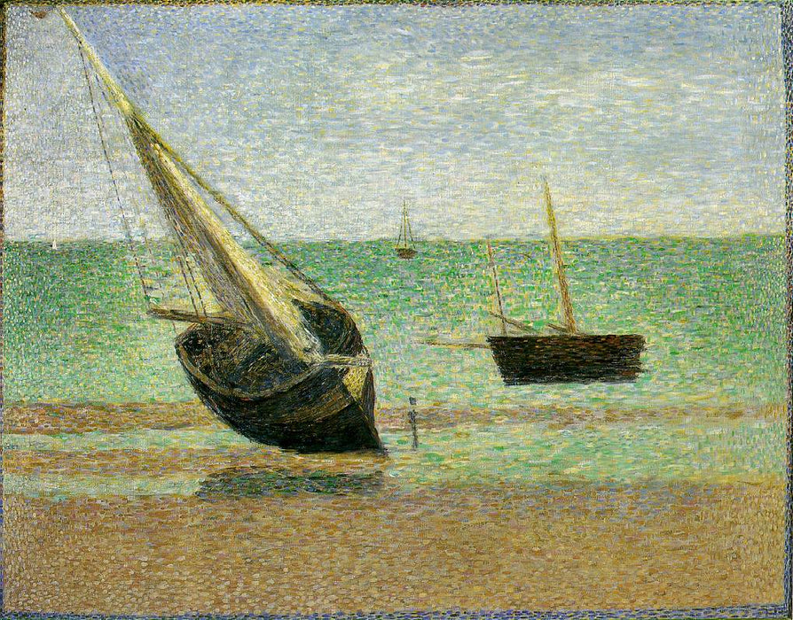 Low Tide at Grandcamp by Georges Seurat Reproduction Painting by Blue Surf Art