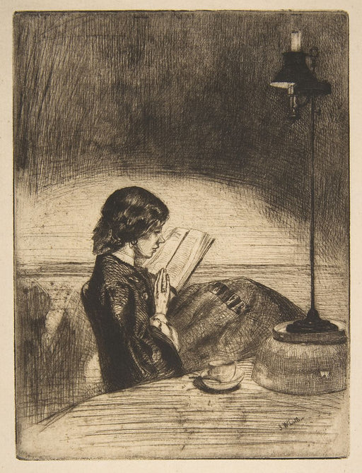 Reading by Lamplight by James Abbott McNeill Whistler Reproduction Painting by Blue Surf Art